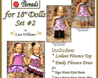 """INSTANT DOWNLOAD: Funktional Threads for 18"""" dolls - Set 2 - diy pdf ebook pattern Emily Flounce Dress & Leilani Flounce Top"""