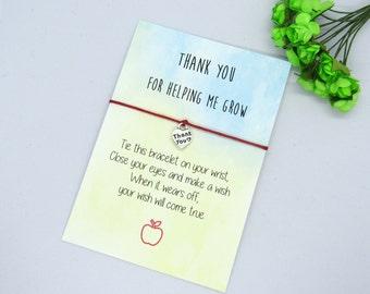 Teacher Wish Bracelet, Teacher Thank You Gift, Thank You Teacher, Teacher Helping Me Grow Gift, Teacher Bracelet, Teacher Jewelry.