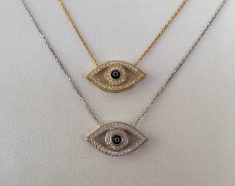 Evil Eye Necklace • Sterling Silver and Sparkly Cubic Zirconia • Eye Jewelry is Hot Trending Right Now • Safe to Get Wet