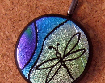 Dragonfly Dichroic Pendant Etched Pendant Glass Jewelry Fused Glass Pendant