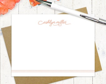 personalized notecard set - SCRIPT AND DOTS - set of 12 flat note cards - personalized stationery - stationary - typography