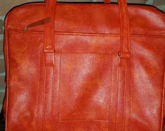 Incredible Orange 70's Samsonite Carry-on Faux Lizard Purse,Briefcase,Weekender,Luggage,Bowling Bag,Overnight Bag