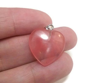 1 Pink Quartz Heart Charm Pendant, Heart  Shaped Charm, Quartz Charm, Pink Heart,  24mm, USA Seller, C394
