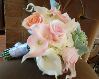 Real to touch look at artificial latex wedding bouquet, lilies, roses, dusty miller, elegant bouquet