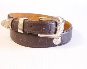 Men's Golfer Leather Belt -  Belt size 32