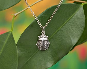 Ladybug Necklace Handcrafted in Sterling Silver from our Mystic Creature line