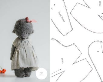 Pdf Sewing Pattern & Tutorial Mohair Teddy Bear 8 Inches Artist Bear In Clothes Pattern Stuffed Animal Pattern For Women