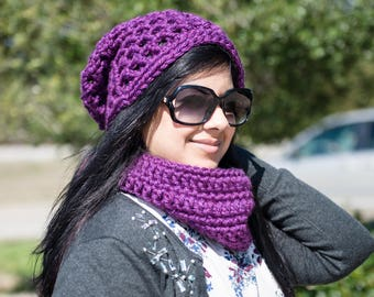 Crocheted Slouchy hat and Cowl