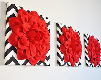 3 Red and Black Chevron Wall Art, Christmas Holiday Home Decor, Gifts Under 50, Red Wall Art, Handmade Gifts, Red Wall Decor Christmas gift