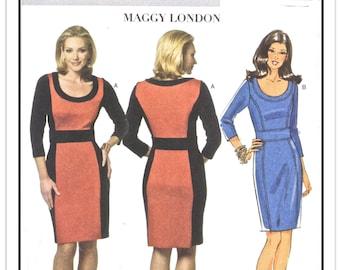 BUTTERICK Pattern B 5673 - Misses' Designer Maggy London Fitted Dress w/Colorblock Options, Princess Seams, Midriff - Sz 16-18-20-22 - Uncut