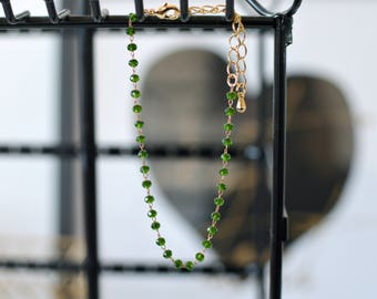 GREEN & GOLD - faceted Glass Beads Bracelet