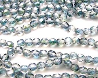 Blue Green Luster 6mm Fire Polish Round Czech Glass Beads   25