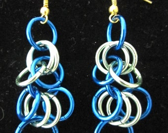 Chainmail Dangle Earrings in Seafoam and Royal Blue