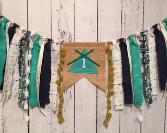 TEEPEE Aztec Tribal inspired High Chair Banner Birthday / Ragtie Cloth & Burlap / Photo Prop / Backdrop