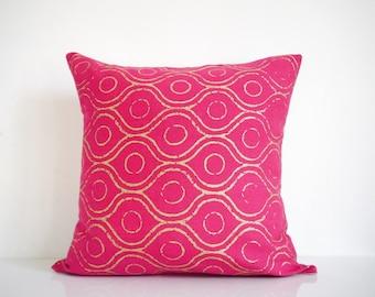 Pink pillow - metallic gold print on pink organic cotton, bohemian pillow, hot pink pillow
