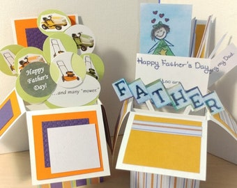 Handmade Exploding Box Father's Birthday Card - 2 Variations -- Free Shipping in USA