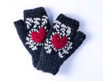 Heart Embroidered Handwarmer