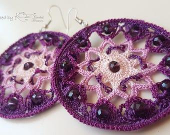 Crochet earrings, Purple earrings, Crochet hoops, Beaded earrings, Pink and purple, Purple crochet, Handmade jewelry, Crochet jewelry