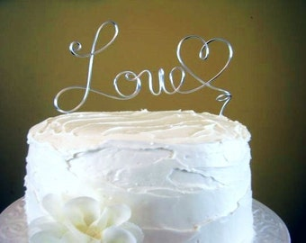 """Wire Wedding Cake Topper """"Love"""" Wire Cake Topper - Many colors available"""