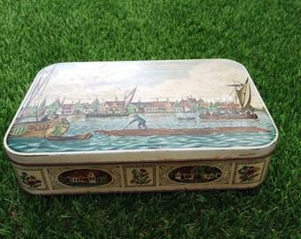 Vintage 1950s Royal Verkade Biscuit Tin River Zaan