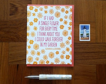 Every Time, Claudia Grande Quote, Letterpress Note Card, Blank Inside