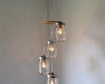 Spiral Mason Jar Chandelier, Rustic Hanging Mason Jar Pendant Lighting Fixture, 4 Clear Pint Jars, BootsNGus Lighting & Decor
