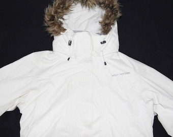 Helly Hansen Women's HH Arctic Legacy Series Quilted Padded Faux Fur Hooded Parka Jacket Coat size L