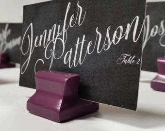 Cute Curves Weighted Place Card Holder - Deep Plum (Sample Quantities)