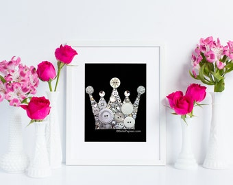 5x7 Button Art Crown Swarovski Crystal Crown Keep Calm and Carry On Art princess prince king queen