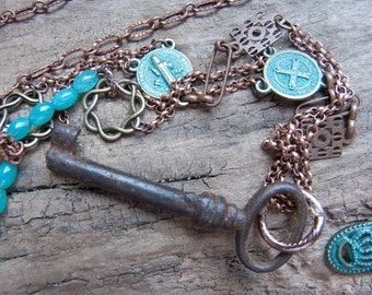 Necklace, an ancient key, necklace, an old key, mystery