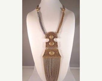 ON SALE Vintage Large Bib Statement Runway Fringe Necklace Pendant ** Retro Collectible Costume High End Vintage Jewelry