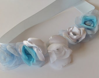 Flower sash Blue baby sash Maternity sash Boy maternity belt Maternity prop Maternity belt  Newborn photo prop Satin flower sash Handmade