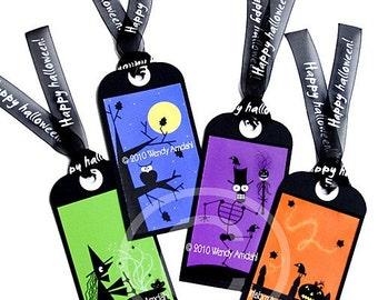Halloween Art, Halloween, Illustration, Digital, Halloween Tags, Orange, Green, Blue, Purple, 8x8 ,Original Shadow Art, Set of 4 Black Ties