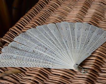 Regency Era Ladies Carved Bone Fan