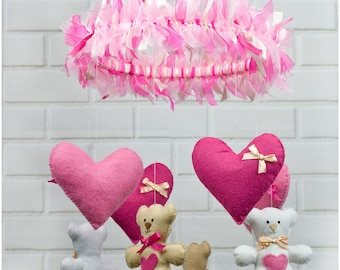 Felt Baby Girl Nursery Mobile with Teddy Bears and Hearts, Cot Mobile, Nursery Decoration, Pink White Colours