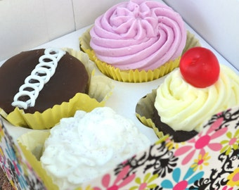Cupcake Soap -Gift Set Box of 4 - Fake Food - Mother's Day - Assorted Vegan Bakery Cupcake Soap