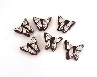 Polymer Clay Beads, Butterfly Beads, Cabbage White Flutterby