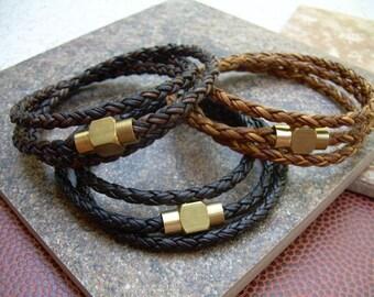 Leather Bracelet for Men Men's Leather Bracelets Men's Bracelets Leather Mens Bracelets Brass Magnetic Clasp Leather Wrap Bracelet