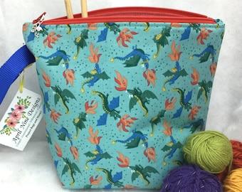 Dragons Knitting Project Bag, Dragons Crochet Bag, Yarn Ball Bag, Utility Bag