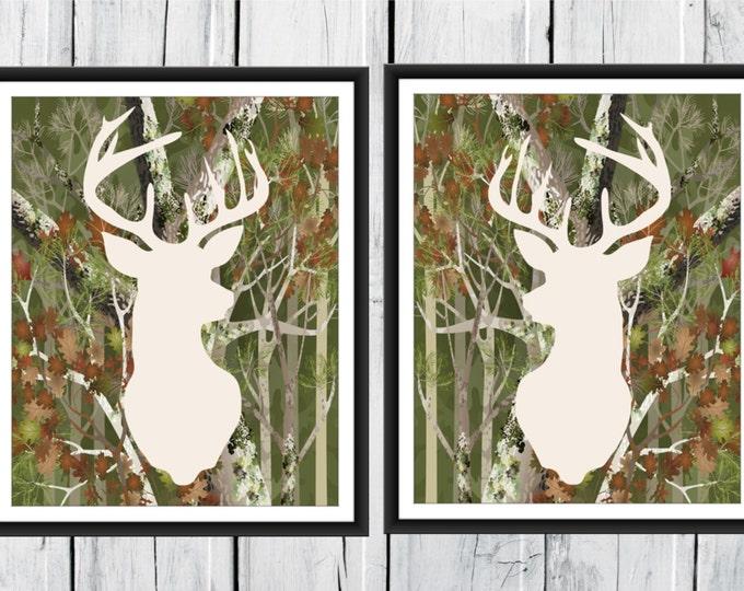 Deer Antlers - Hunting Lodge Decor - Camo Antler Print  Nursery Decor - Camouflage Deer Print