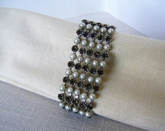 KRAMER of New York BRACELET Gray Rhinestones w Faux Pearls Vintage Costume Jewelry Collectible Designer Jewelry Bridal Wedding Jewelry