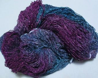 Hand dyed Plush Rayon Chenille Black Fleck Yarn  ATLANTIS  -  500 yds