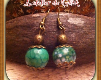 Earrings agate vein of dragon scrub