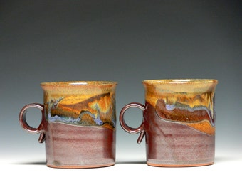 Pair of Stoneware Pottery Mugs, Hand Thrown Mugs