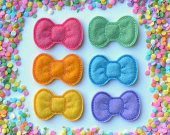 Candy Rainbow Hair Clip (Singles) - 100% Wool Felt Bow Clips for Babies, Toddlers, Girls, & Women - Embroidered Felt Hair Bows -Bow Feltie