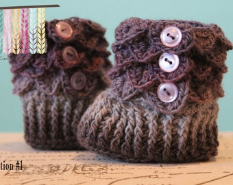 Crocodile Stitch Booties - Crochet Baby Booties - CUSTOM OPTIONS AVAILABLE