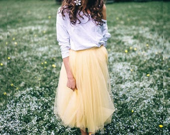 Safari Odile Tulle Skirt. Bright Yellow Tulle Skirt. #BowsAndTulle_Odile