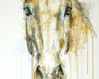 Acrylic Painting of a Horse, Horse Head, Animal Portrait, Modern Original Fine Art, Equine Art, Expressive
