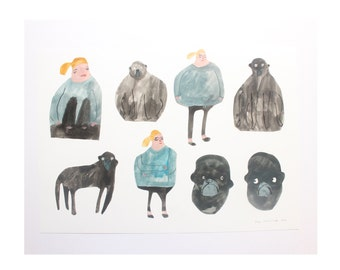 My Friend Monkey  - Original Faye Moorhouse collage painting illustration