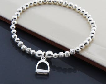 Sterling Silver Stirrup Charm Bracelet, Equestrian charm Bracelet, Horse Lover Gift, Equestrian Jewelry, Gift for Girls